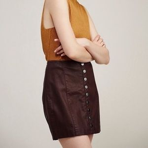 Free People Oh Snap Vegan Leather Button Skirt